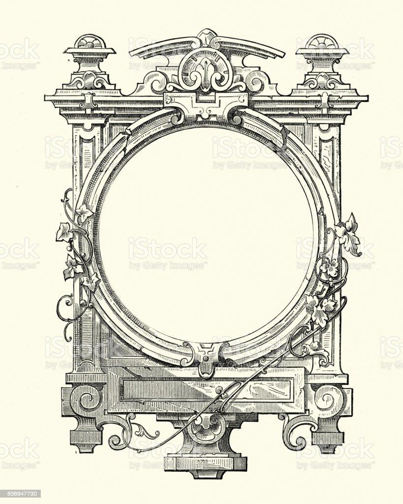 Gothic style frame vector art illustration