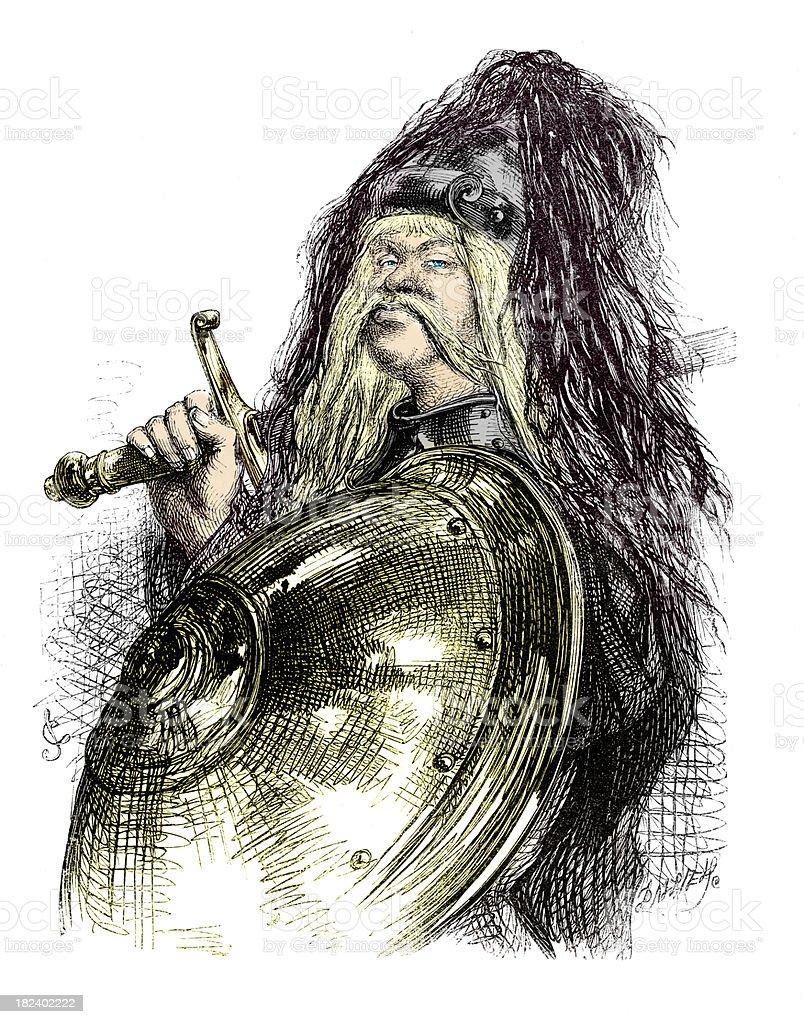 Gothic Viking Warrior vector art illustration