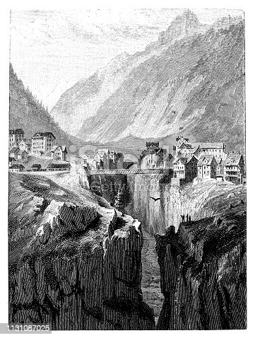 Illustration of a Gotthard Railway: Göschenen with the old bridge