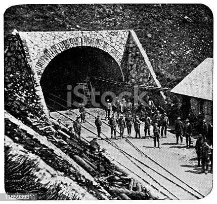 Gotthard Railway Tunnel in Uri Canton, Switzerland. Vintage halftone etching circa late 19th century.