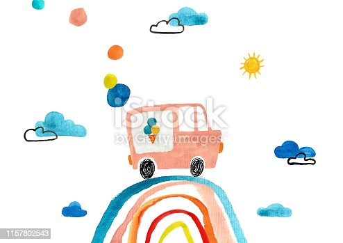 Funny kids traveling gouache poster or card. Ice cream van driving on a rainbow.