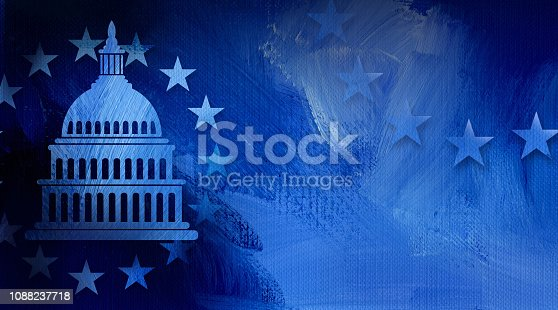 istock Government Capitol Building with Stars abstract background 1088237718