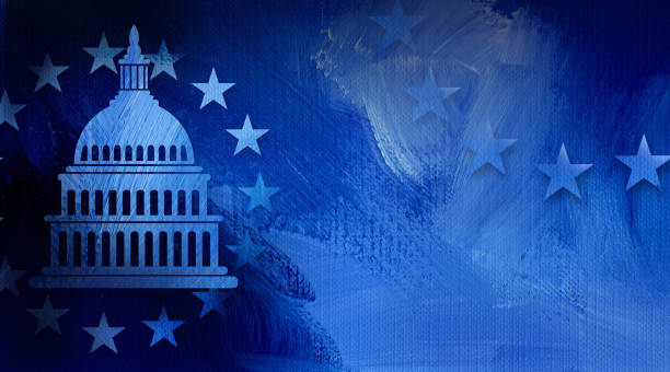 Government Capitol Building with Stars abstract background Graphic illustration of iconic American Capitol dome and simple ring of stars on abstract oil paint background. Conceptual graphic for political themed usage. federal building stock illustrations