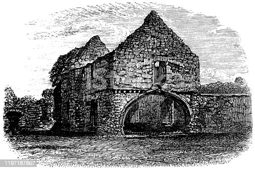 Grace Dieu Priory at the village of Thringstone in Leicestershire, England, Uk. Vintage etching circa 19th century.