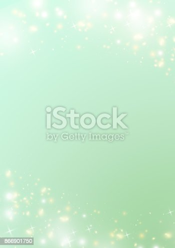 istock Gradient green background with sparkle bokeh star and light border 866901750