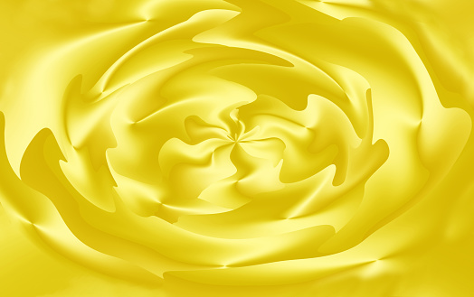 Gradient yellow 3D flower-like spiral illustration for abstract background