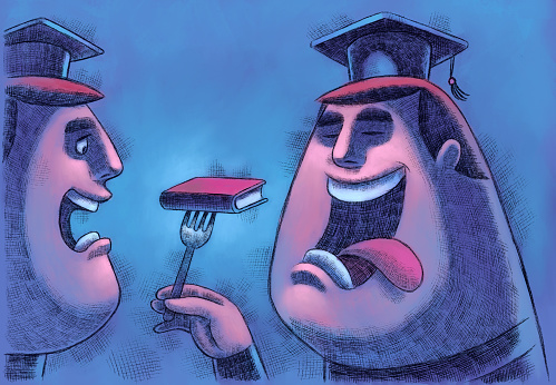 graduate going to eat book