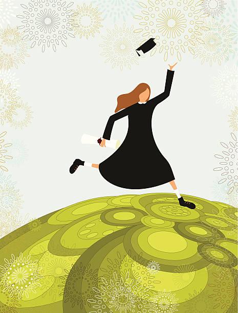 Graduate student girl vector art illustration