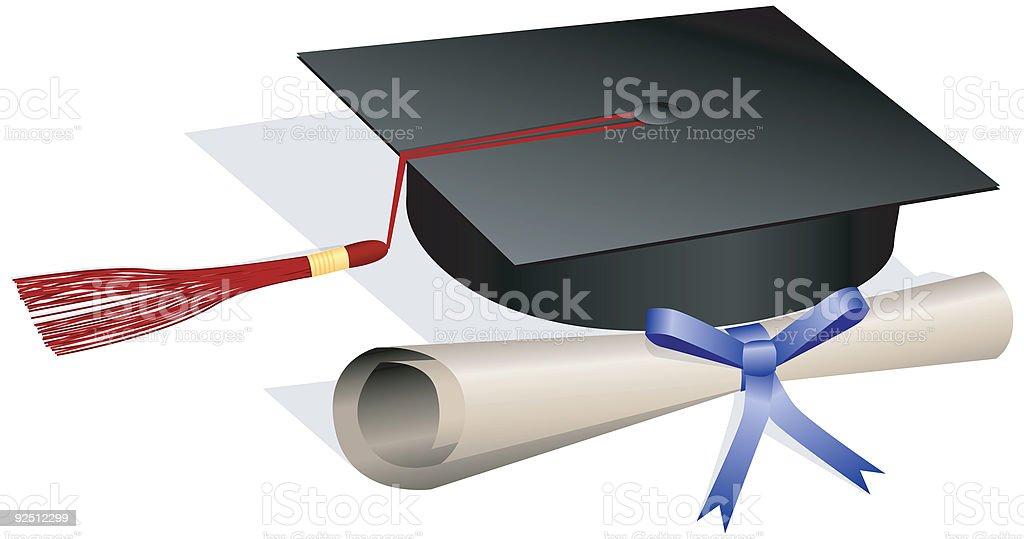 Graduation Cap and Diploma - Vector vector art illustration