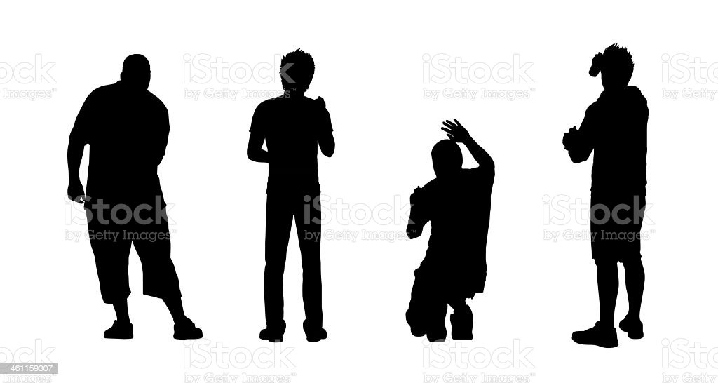 graffiti atrists painting on the wall sihlouettes set vector art illustration