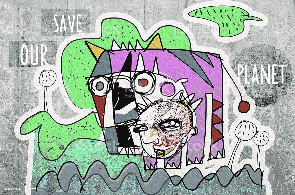 Fundo de graffiti - ilustração de arte em vetor