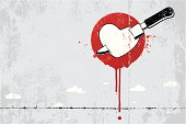 Stabbed heart graffiti vector illustration. All design elements are layered and grouped. Other files are : Aics3 and Hi-res jpg.