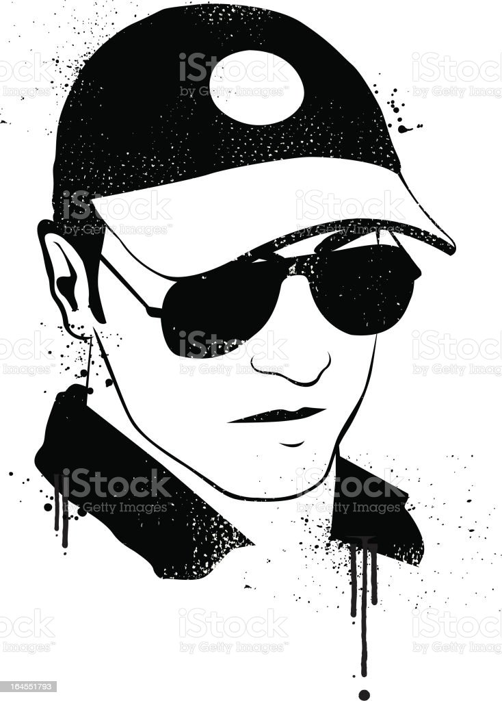 Graffiti young man portrait vector art illustration