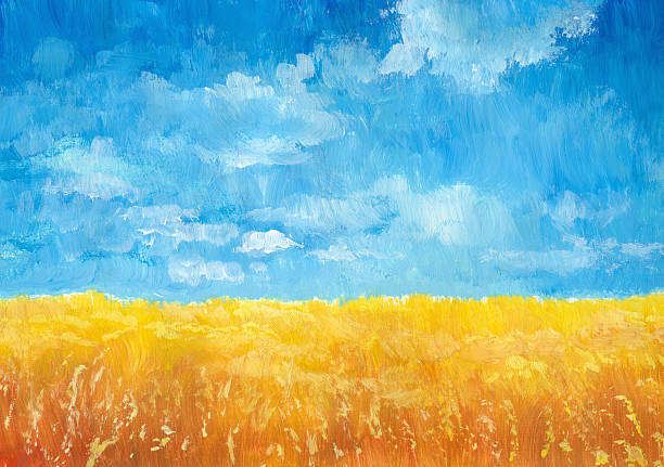 Grain Field Acrylic Painting on a paper, my own artwork. impressionism stock illustrations