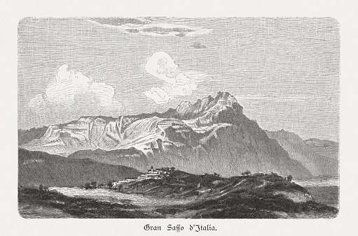 Gran Sasso d'Italia, Apennine Mountains, Italy, wood engraving, published 1897