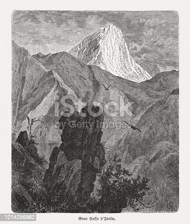 istock Gran Sasso d'Italia, Apennines, Italy, wood engraving, published in 1893 1214256962