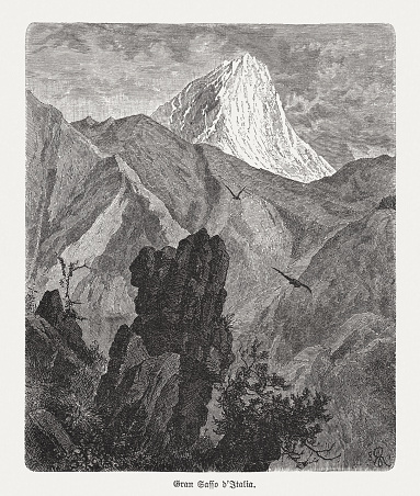 Gran Sasso d'Italia, Apennines, Italy, wood engraving, published in 1893