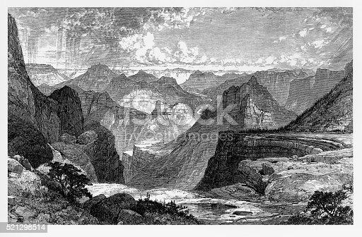 Very Rare, Beautifully Illustrated Antique Victorian Engraving of The Grand Canyon in Colorado, 1875 Victorian Engraving from Marvels of the New West, a Vivid Portrayal of the Stupendous Marvels in the Vast Wonderland West of the Missouri River. Published in 1888 by the Henry Bill Publishing Company. Copyright has expired on this artwork. Digitally restored.