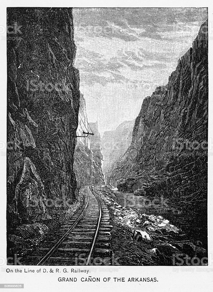 Grand Canyon of the Arkansas River Victorian Engraving vector art illustration
