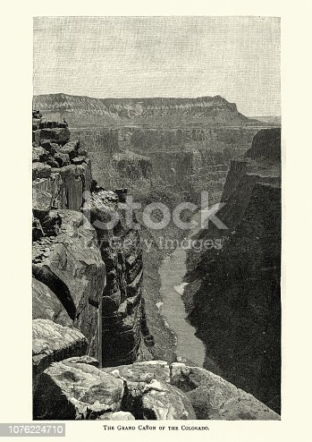 Vintage engraving of the Grand Canyon of the Colorado, 19th Century