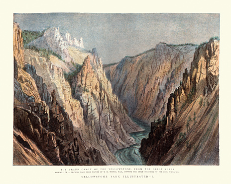 Vintage illustration of Grand Canyon of the Yellowstone, From the Great falls, 19th Century