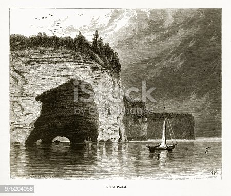 Very Rare, Beautifully Illustrated Antique Engraving of Grand Portal, Lake Superior, Minnesota, United States, American Victorian Engraving, 1872. Source: Original edition from my own archives. Copyright has expired on this artwork. Digitally restored.