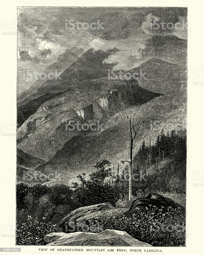 Grandfather Mountain, North Carolina, 19th Century vector art illustration