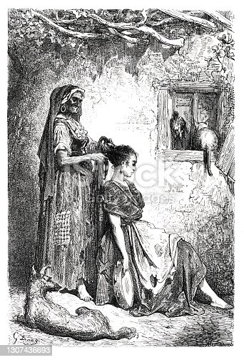 istock Grandma making the hair of young gypsy woman near Diezma 1864 1307436693
