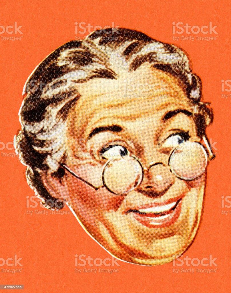 Grandma sonriendo y mirando a la derecha - ilustración de arte vectorial