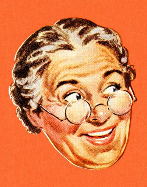stockillustraties, clipart, cartoons en iconen met grandma smiling and looking to the side - wegkijken