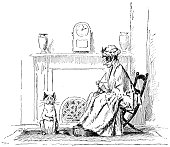 Grandmother and cat at the fireplace