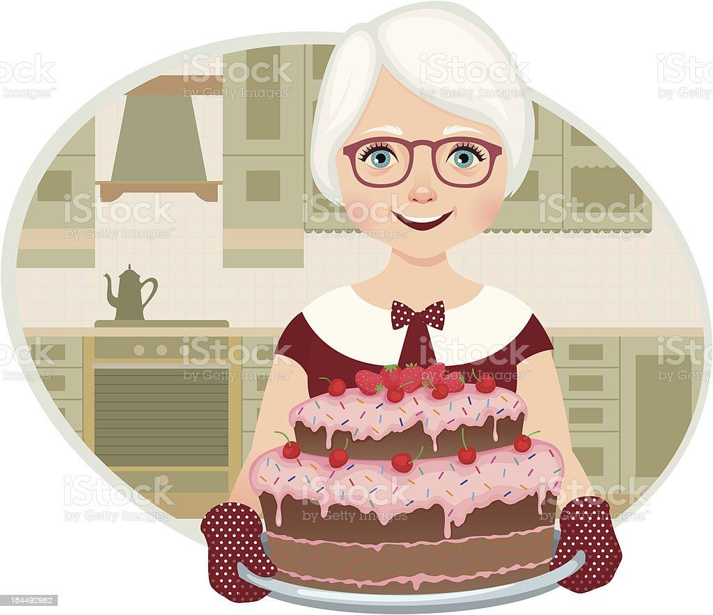 Grandmother baked a cake vector art illustration