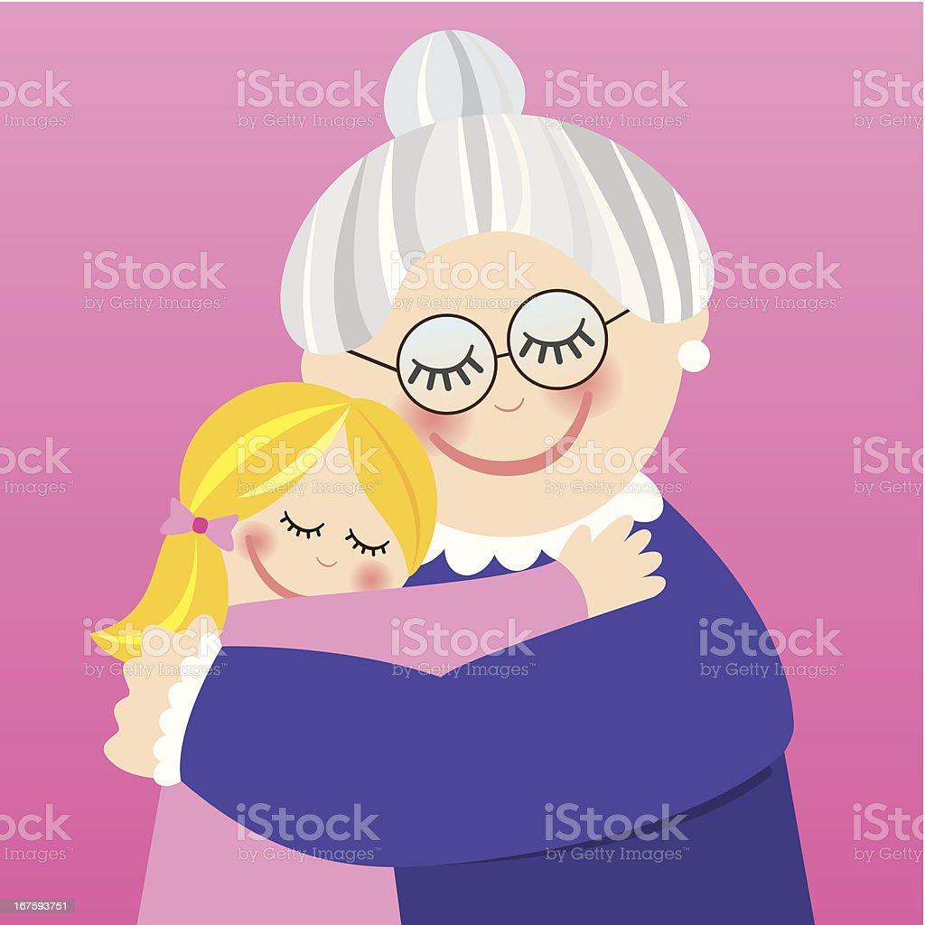 Grandmother hugging her granddaughter royalty-free stock vector art