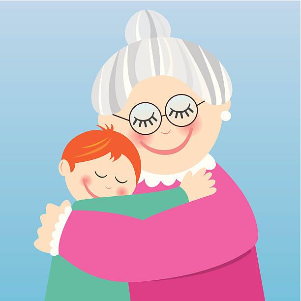 ilustraciones, imágenes clip art, dibujos animados e iconos de stock de abuela abrazándose su nieto - nieto