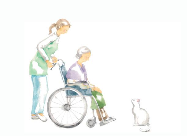 車椅子の祖母 - 介護点のイラスト素材/クリップアート素材/マンガ素材/アイコン素材