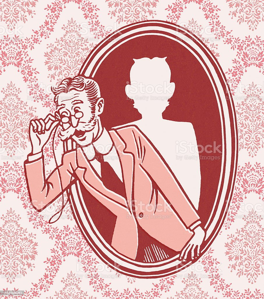 Grandpa Leaning Out of Picture royalty-free stock vector art