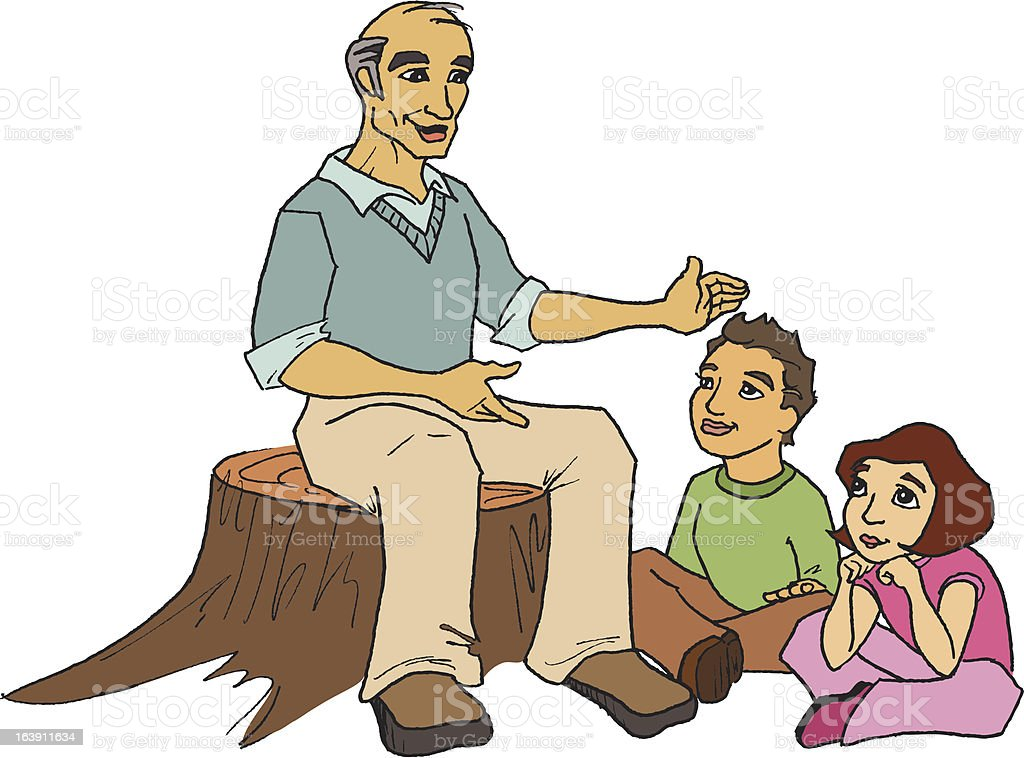 Grandpa Telling a Story vector art illustration