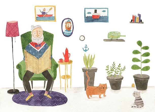 grandpa watercolor illustration - old man sitting chair clip art stock illustrations, clip art, cartoons, & icons