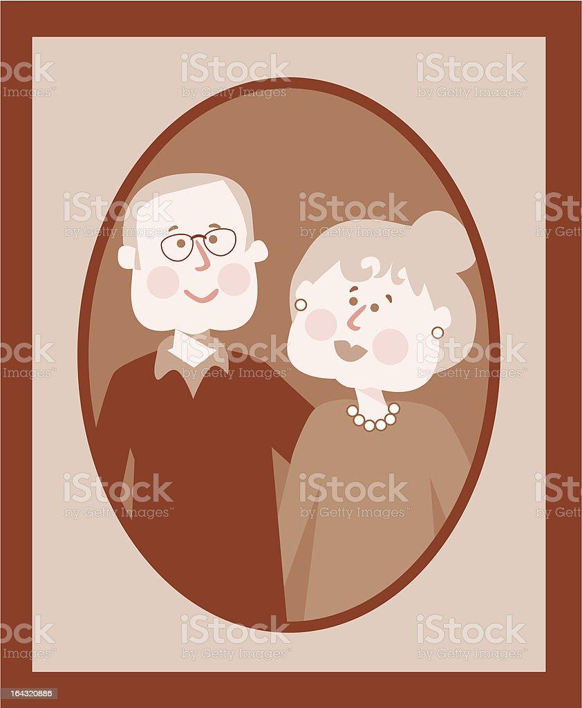Grandparent's Portrait royalty-free stock vector art