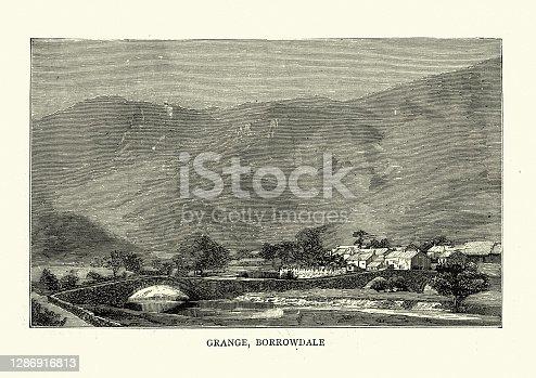 Vintage engraving of Grange, Borrowdale, English Lake District, 19th Century. Grange, often called Grange in Borrowdale, is a village in Borrowdale in the English Lake District.