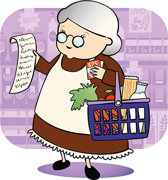 Granny Grocery Shopping Sweet little old lady doing her grocery shopping and using coupons - easy to edit separate layers and global colours snack aisle stock illustrations