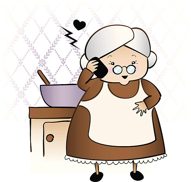 Best Vintage Old Ladies Talking Illustrations, Royalty ... Old Lady On Cell Phone Clip Art