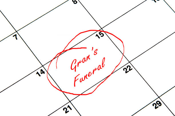 Gran's Funeral Circled on A Calendar in Red vector art illustration