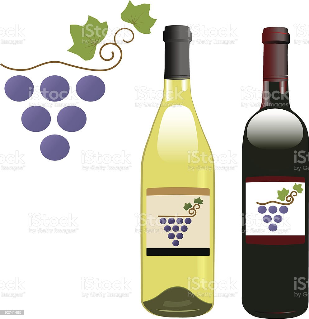 grape vineyard symbol with red & white wine bottles & labels royalty-free stock vector art