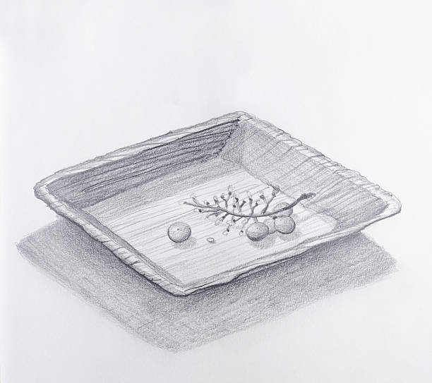 bildbanksillustrationer, clip art samt tecknat material och ikoner med grapes eaten up pencil drawing - tallrik uppätet