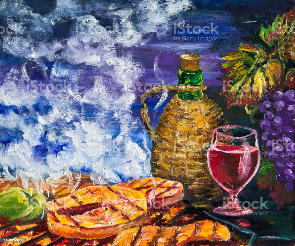 Grapes, red wine and grilled fish. vector art illustration