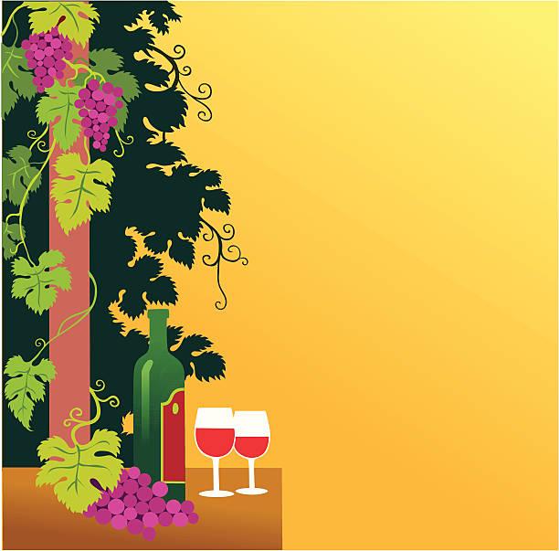 грейпвайн и вино вставка с copyspace - four seasons stock illustrations