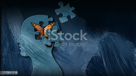 Graphic abstract design of birth of idea or being emotionally set free. Simple, dramatic, dreamlike art with iconic butterfly, puzzle pieces and head profile.