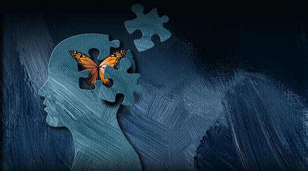 Graphic Abstract Butterfly breaks free puzzled mind Background Graphic abstract design of birth of idea or being emotionally set free. Simple, dramatic, dreamlike art with iconic butterfly, puzzle pieces and head profile. relief emotion stock illustrations