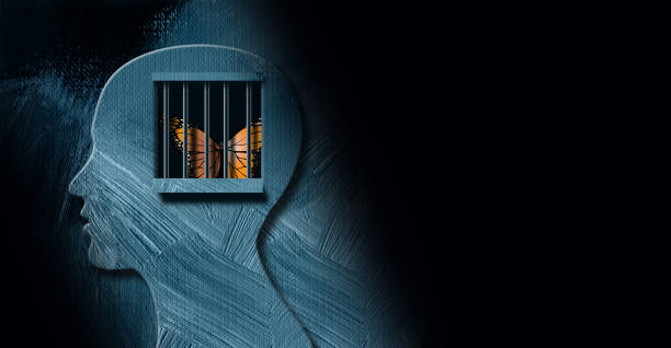 Graphic abstract Butterfly trapped behind emotional prison bars Background Graphic abstract design of concept of being emotionally or mentally challenged. Strong, dramatic image of iconic butterfly trapped behind prison bars. relief emotion stock illustrations